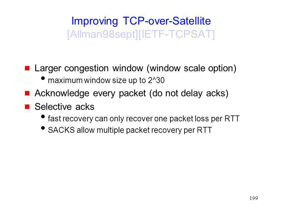 Improving TCP-over-Satellite [Allman98sept][IETF-TCPSAT]